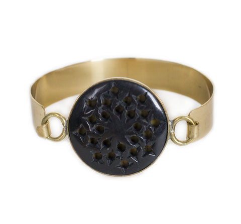 Emily Medallion Cuff - Antique Brass Metal Cuff w/Black Stone Disc Accent