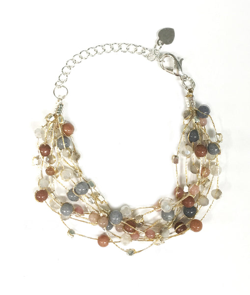 Floating Bracelet ~ Silver Metallic Thread With Multi Colored Beads