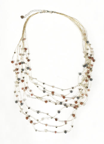 Floating Necklace ~ Silver Metallic Thread With Multi Colored Beads