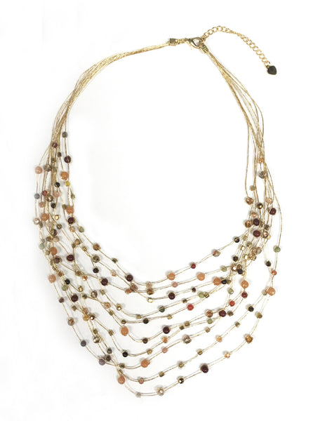 Floating Necklace ~ Gold Metallic Thread With Multi Colored Beads