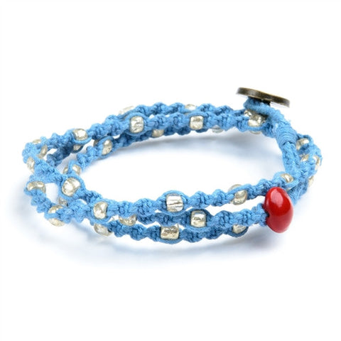 Jorani Wrap - Blue w/ Silver Beads