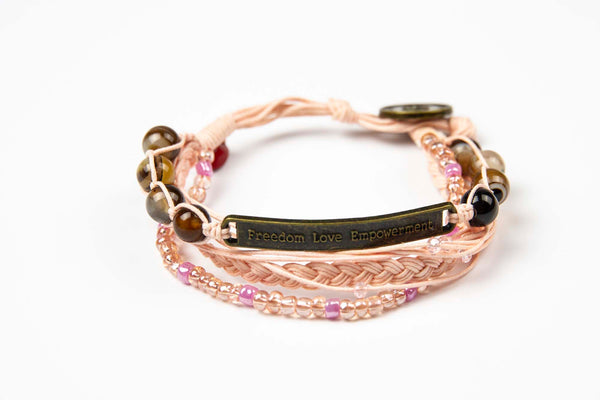 Kyal - Soft Pink w/ Natural Stones, Colored Gems and Anti Brass Charm