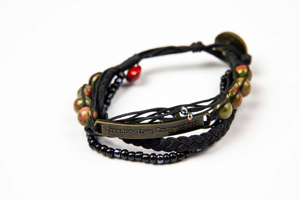 Kyal - Black w/ Natural Stones, Colored Gems and Anti Brass Charm