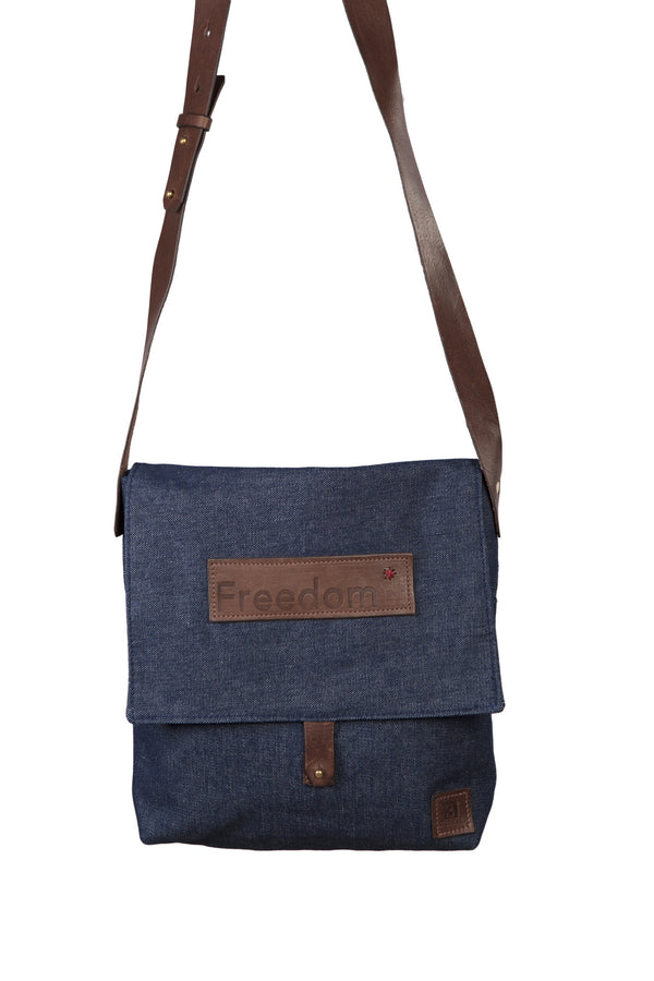The Freedom Messenger ~ Denim w/Brown Leather