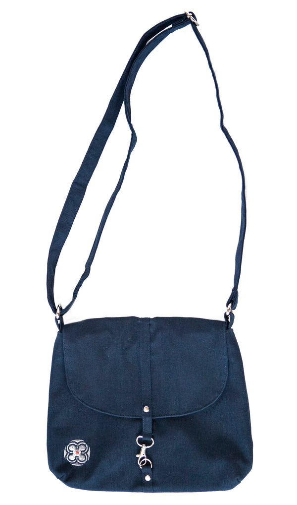 Linen Messenger Bag ~ Navy