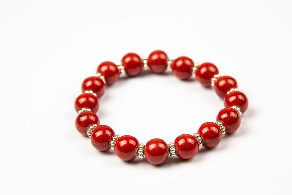 Preahkun - Red w/ natural stone & silver metal accents