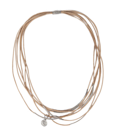 Samang - Natural Leather w/Metal Tube Beads Necklace