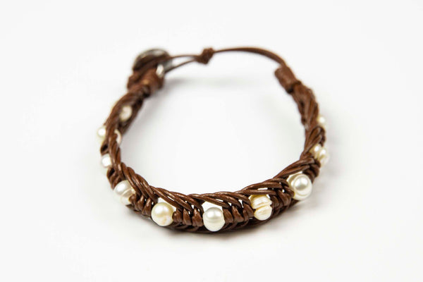 Saart - Brown Leather w/pearl stone accents