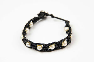 Saart - Black Leather w/pearl stone accents