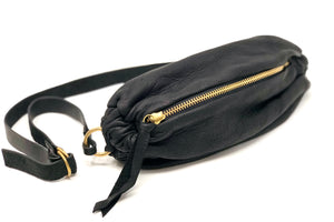Leather Scrunchie Bag - Black