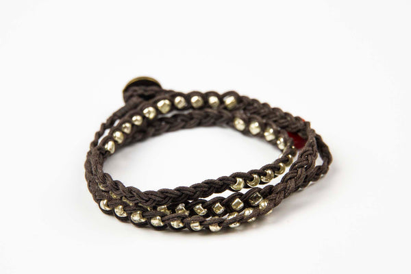 Sohben Wrap - Brown w/ Silver Metal Beads