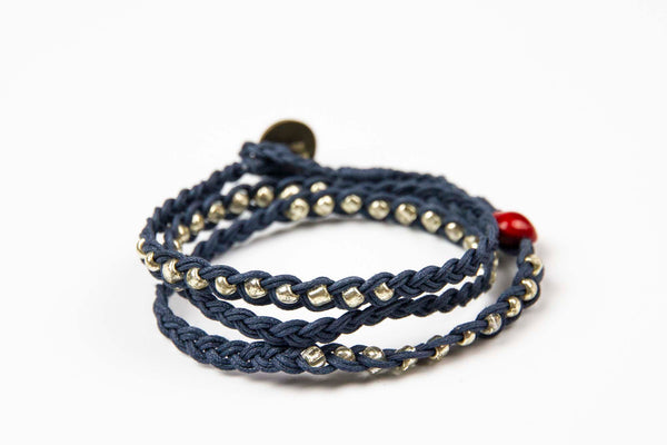Sohben Wrap - Navy w/ Silver Metal Beads