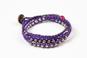 Sohben Wrap - Purple w/ Silver Metal Beads