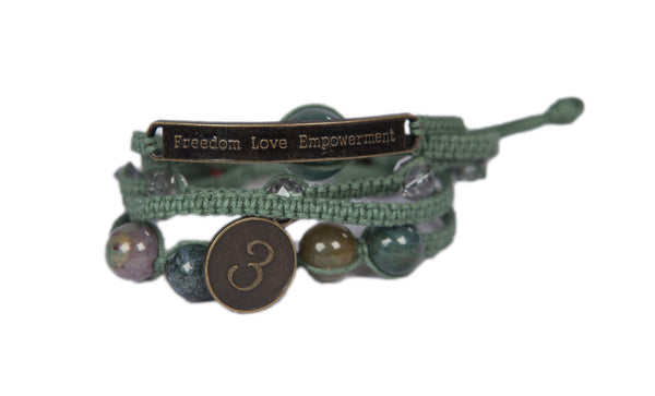 Sophea - Muted Olive w/Natural Stones, Clear Gems and Anti Brass Charms