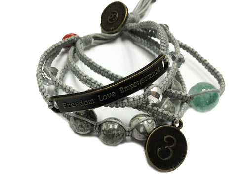 Sophea - Steel Grey w/Natural Stones, Clear Gems and Anti Brass Charms