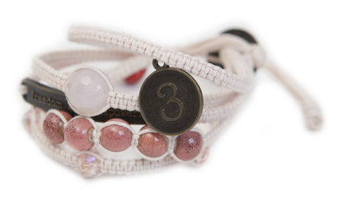 Sophea - Soft Pink w/ Natural Stones, Clear Gems and Anti Brass Charms