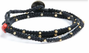 Tiny Kalliyan Wrap - Black w/ Gold Beads