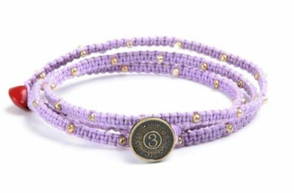 Tiny Kalliyan Wrap - Lavendar w/ Gold Beads