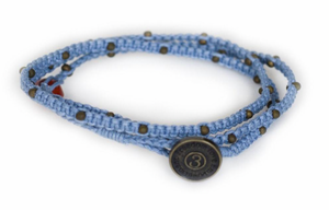 Tiny Kalliyan Wrap - Denim w/ Bronze Beads