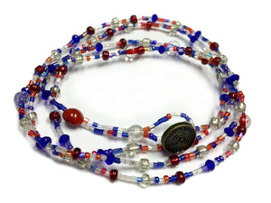 Thea Wrap - Red, White  Blue Beads
