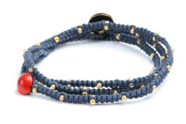 Tiny Kalliyan Wrap - Navy w/ Gold Beads