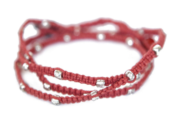 Tiny Kalliyan Wrap - Red w/ Silver Beads
