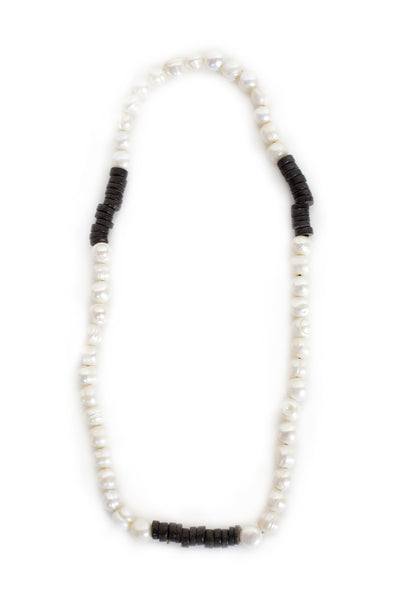 Tmaa Necklace ~ Natural Pearl Beads & Coconut Shell Accent