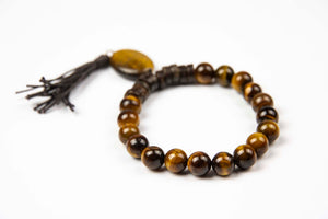 Tmaa Bracelet w/Tassel ~ Brown w/Tiger's Eye Natural Stone w/Oval Bd & Tassel