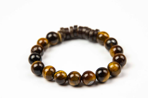 Tmaa Bracelet ~ Brown w/Tiger's Eye Natural Stone & Coconut Shell Accent