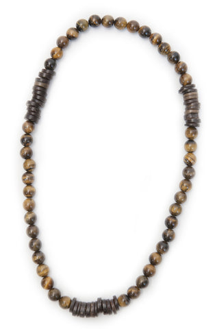 Tmaa Necklace ~ Brown w/Tiger's Eye Natural Stone & Coconut Shell Accent