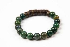 Tmaa Bracelet ~ Olive w/Olive Natural Stone & Coconut Shell Accent
