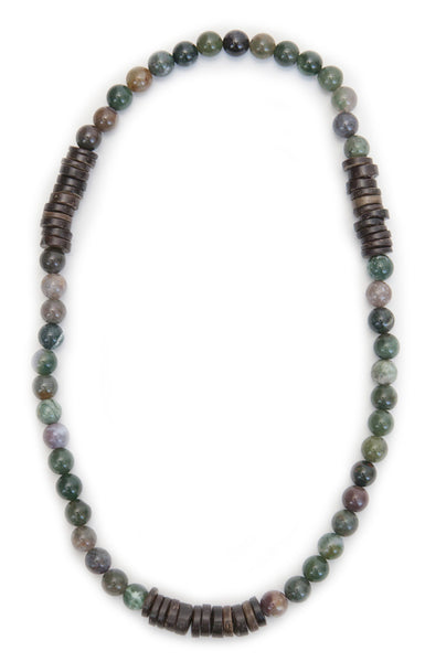 Tmaa Necklace ~ Olive w/Olive Natural Stone & Coconut Shell Accent