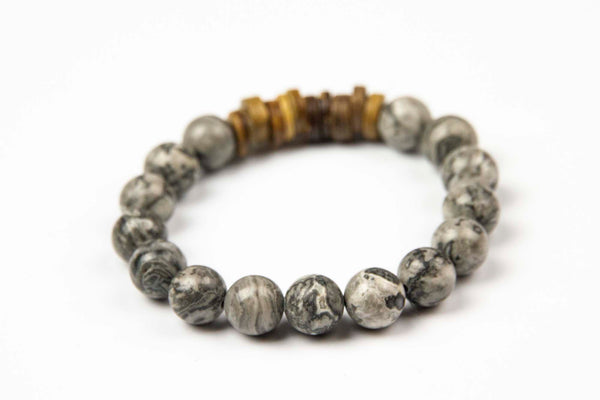 Tmaa Bracelet ~ Steel w/Steel Grey Natural Stone & Coconut Shell Accent
