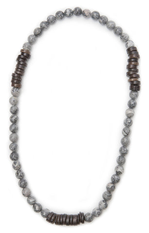 Tmaa Necklace ~ Steel w/Steel Grey Natural Stone & Coconut Shell Accent