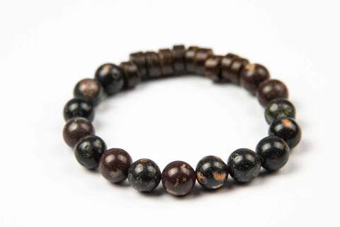 Tmaa Bracelet ~ Black w/Onyx Natural Stone & Coconut Shell Accent
