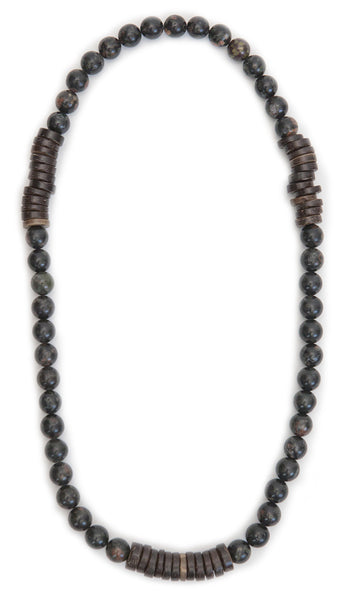 Tmaa Necklace ~ Black w/Onyx Natural Stone & Coconut Shell Accent