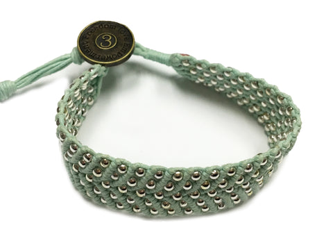 Tnphlon ~ Sea Green w/ Silver Beads