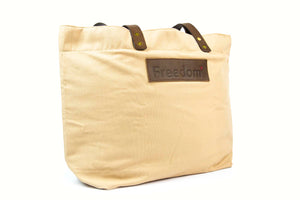 The Freedom Tote ~ Sand w/Brown Leather