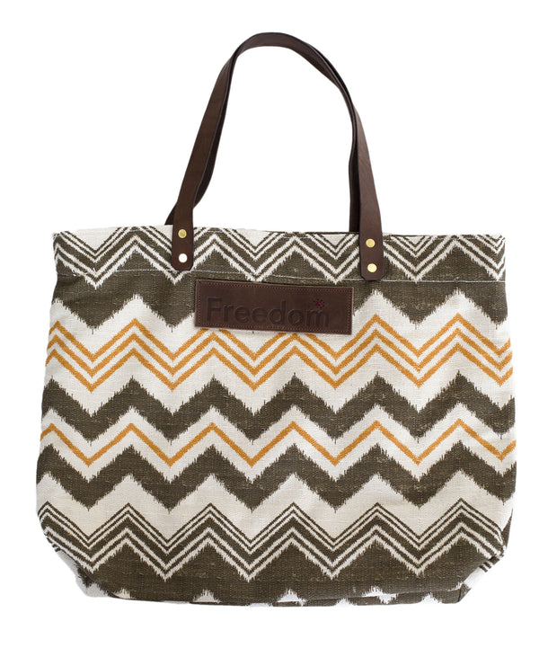 The Freedom Tote ~ Brown Chevron w/Brown Leather