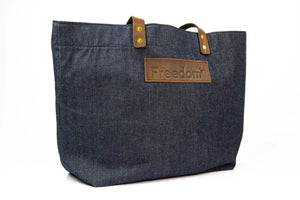The Freedom Tote ~ Denim w/Brown Leather
