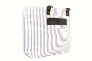 The Freedom Tote ~ Black Stripe w/Black Leather