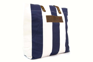 The Freedom Tote ~ Navy Stripe w/Brown Leather