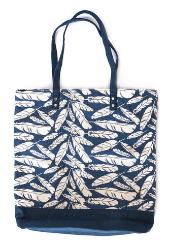 Canvas Feather Print Tote ~ Navy & White