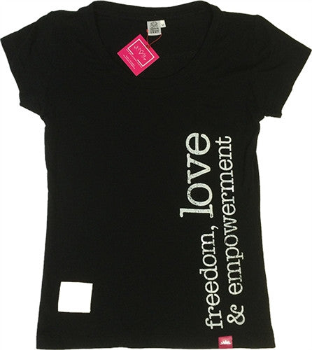 T-Shirt Freedom Love - Womens Black