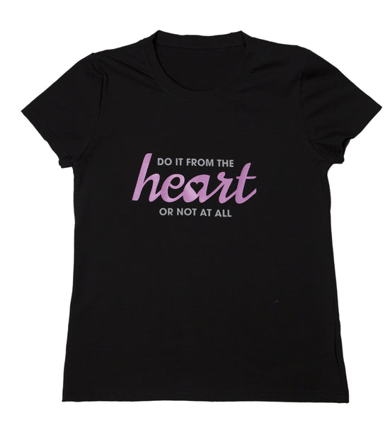 "T-shirt ""From The Heart"" - Womens Black"