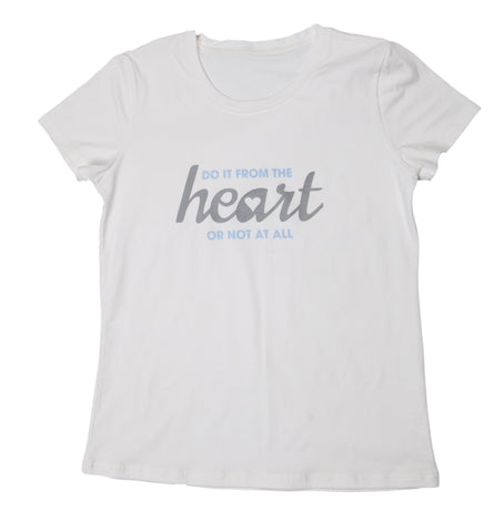 "T-shirt ""From The Heart"" - Womens White"