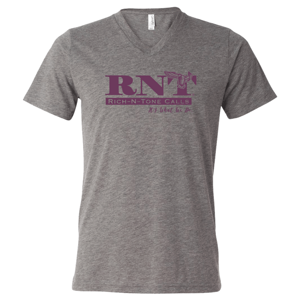 Ladies Grey V-Neck Logo T-Shirt