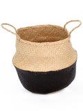 Seagrass Belly Basket, Dipped Black, Medium
