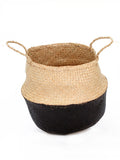 Seagrass Belly Basket, Dipped Black, Small