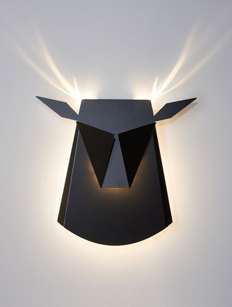 Black Aluminium Deer Head LED Wall Light